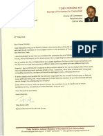 Toby Perkins Letter to David Cameron 23/05/16