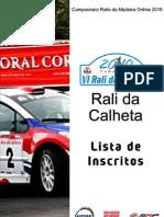 Lista Oficial de Inscritos - Rali Da Calheta 2010