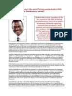 Nigeria August Tax News Fiscal Regime Under the New Petroleum Industry Bill