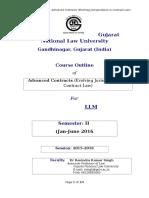 Course Outline, Advanced Contracts, PG, 2016 -Dr_RK Singh_Final_Jan-June, Sem 2