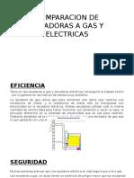 Comparacion de Secadoras a Gas y Electricas