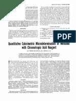 1948. Quanitative Colorimetric Microdetermination of Methanol With Chromotropic Acid Reagent