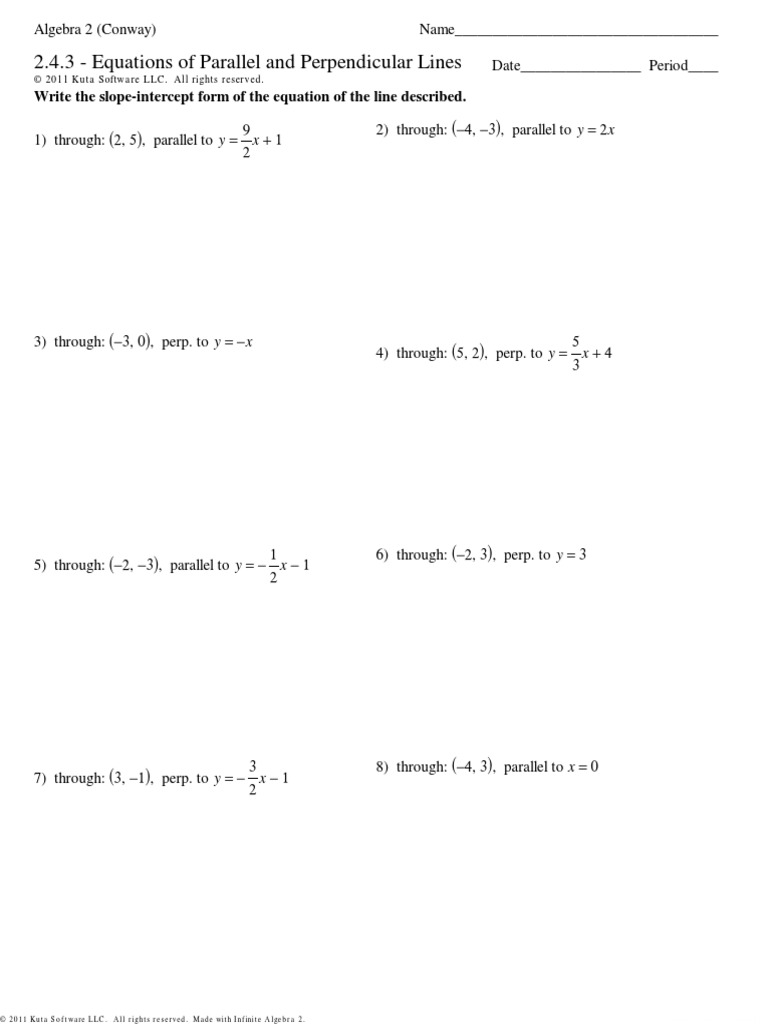 Worksheets Writing Equations Of Lines Worksheet 2 4 3 equations of parallel and perpendicular lines