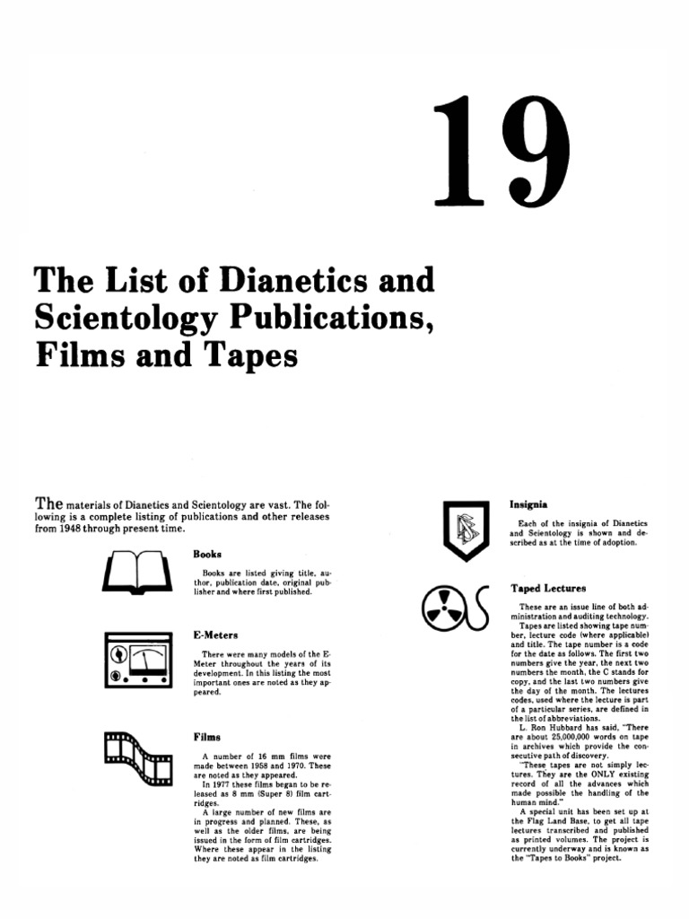 Scientology The List Of Dianetics And Scientology Publications