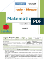 Plan 2do Grado - Bloque 2 Matemáticas