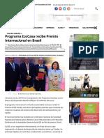 23 - 05 - 16 Programa EcoCasa Recibe Premio Internacional en Brasil