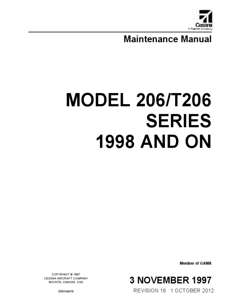 maintenance manual cessna 206 airplane cessna rh es scribd com Bell 205 Bell 206 Interior