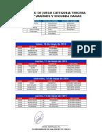 Calendario de Juego Categoria Tercera Damas y Varones y Segunda Damas