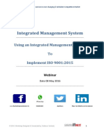 Workshop Integrated Management Systems ISO 9001 14001 18001 22000 and 27000