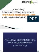 Final Accounts of a Sole proprietorship business