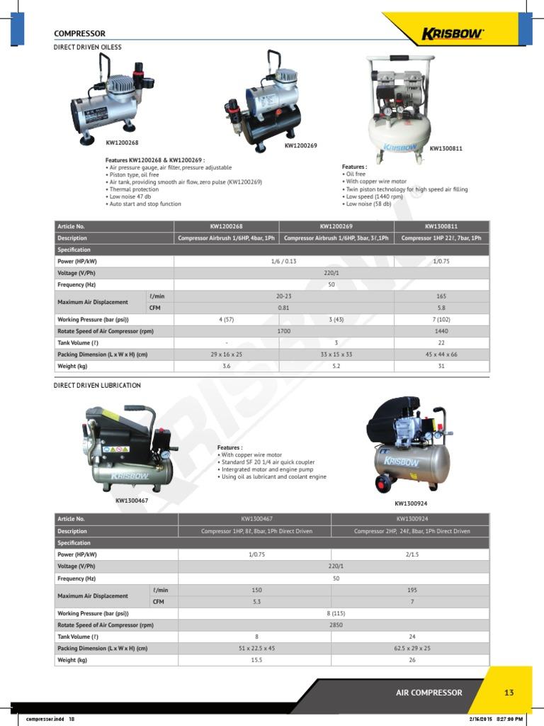 03 catalog krisbow9 air compressor pdf   Diesel Engine   Gas