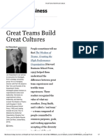 Great Teams Build Great Cultures