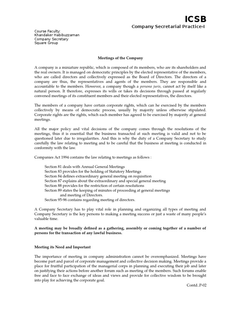 statutory meeting definition