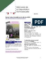 Newsletter du MDH - #2 - Mai 2016
