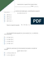 Ficha Formativa - Equações de 2º Grau. Notação Cientifica