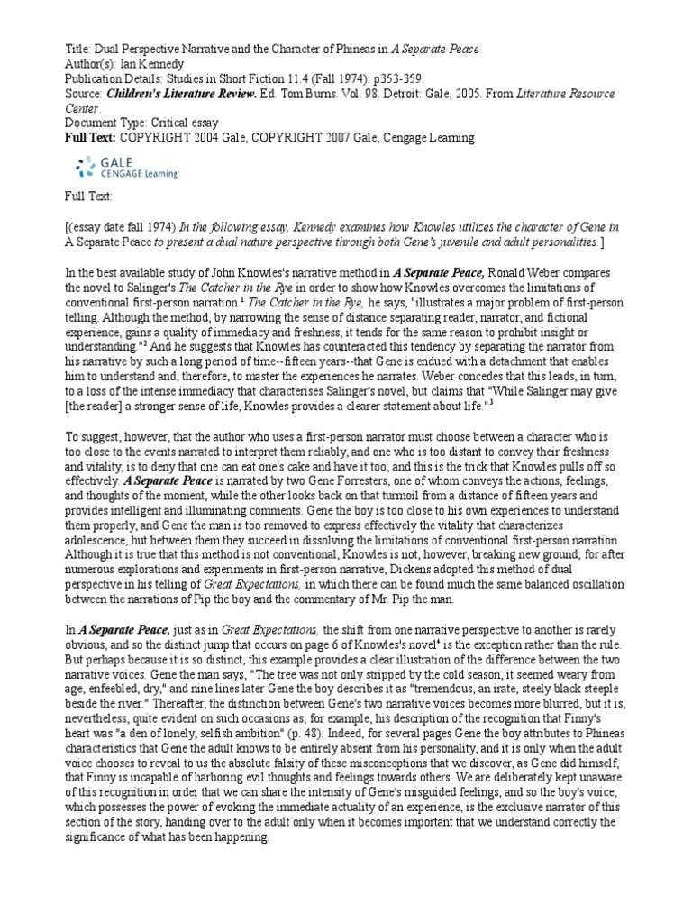 a seperate peace essay