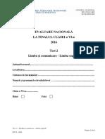Evaluarea Nationala, cls VI, 2016 - Test 2 Limba si Comunicare Engleza