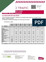 Les prévisions de trafic sncf en Centre-Val de Loire pour ce mercredi 25 mai 2016