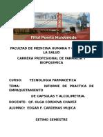Informe Del Empaquetamiento de Capsulas
