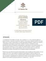 Carta Encíclica Mystici Corporis Do Sumo Pontífice Papa Pio XII