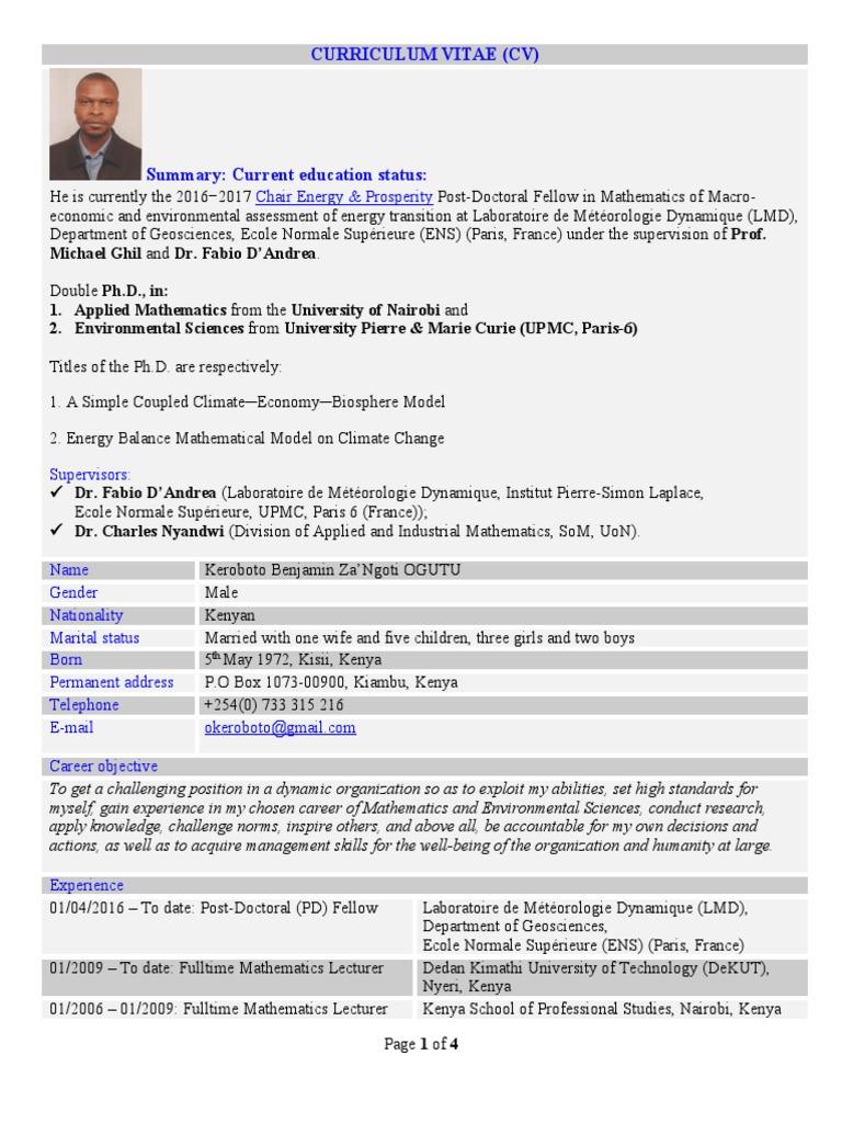 Cv Keroboto Ogutu Kenya Low Carbon Economy