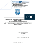 PLAN DE AUDITORIA ADMINISTRATIVA A LA GESTION DE COMPRAS