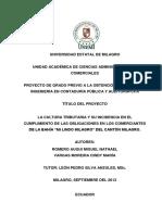 """La Cultura Tributaria y Su Incidencia en El Cumplimiento de Las Obligaciones en Los Comerciantes de La Bahía """"Mi Lindo Milagro"""" Del Cantón Milagro."""