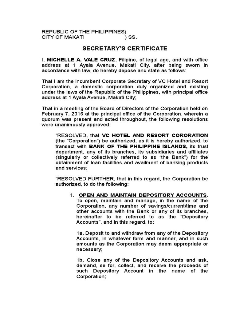 Secretary\'s Certificate | Credit (Finance) | Banks