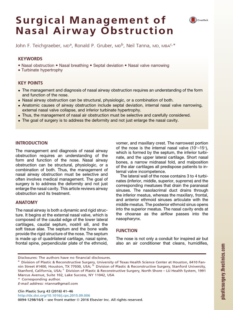 Nasal Obstruction Olfactory System Sensory Organs