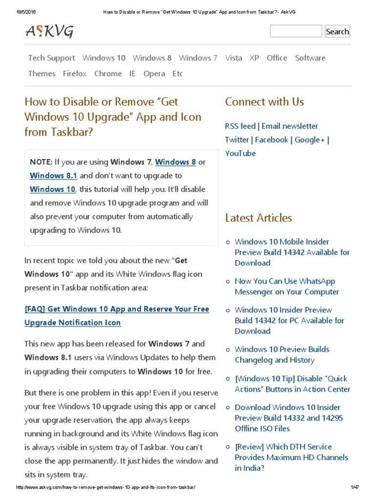 """How to Disable or Remove """"Get Windows 10 Upgrade"""" App and"""