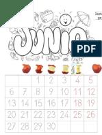 Calendario junio para preescolar