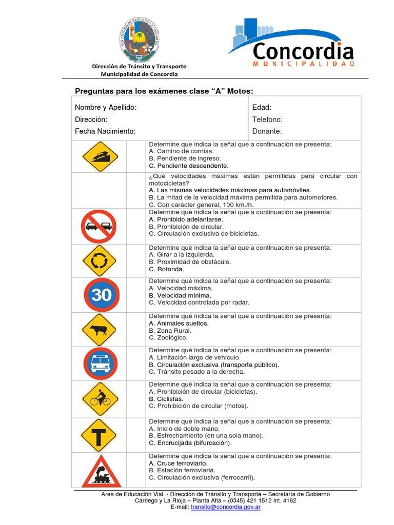 Preguntas Examen Clase A Motos Motocicleta Semaforo