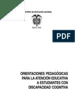 Orientaciones Pedagógicas Para Estudinates Con Discapacidad Cognitiva