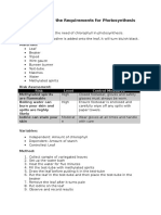 Requirements for Photosynthesis