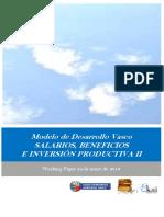Modelo de Desarrollo Vasco. SALARIOS BENEFICIOS E INVERSION PRODUCTIVA II