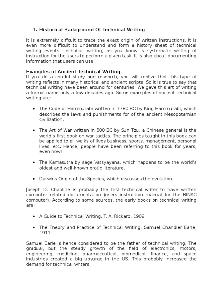 Historical Background Of Technical Writing Documentation Page Layout