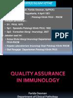 Evaluasi & Tindak Lanjut PME Immunolgi - Dr Farida Oesman, SpPK(K)