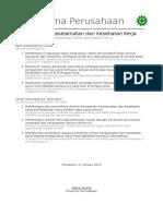 Kebijakan Keselamatan Dan Kesehatan Kerja (K3)