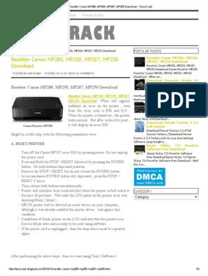 Resetter MP258, MP287, MP250 Download _ DaryCrack | Printer