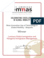 Peregrine/Luminary EMMAs 2016 Award Certificate