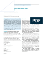 J. Pharm. Innov. 3, 60-68 (2008)-PQLI Key Topics-Criticality, Design Space and Control Strategy