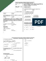 Evaluación de Algebra Sobre Potenciacion y Radicación