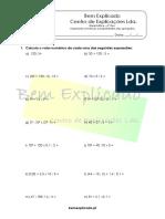 4.1 Expressões Numéricas e Propriedades Das Operações Ficha de Trabalho 1