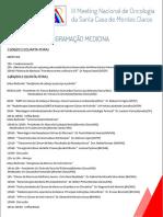 Programacao_medicina III Meeting Nacional de Oncologia Da Santa Casa de Montes Claros