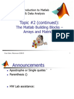 Lecture 2 - Matlab Building Blocks - Arrays and Matrices