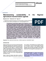 Mainstreaming sustainability in the Nigerian agricultural transformation agenda