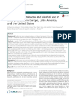 Comparison of tobacco and alcohol use in films produced in Europe, Latin America, and the United States