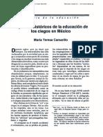 """Camarillo. (1991) """"Aspectos Históricos de La Educación de Los Ciegos en México"""", En Cero en Conducta, Año 6, Núm 23-24, Enero- Abril, 1991."""