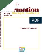 Cahier 23 - Parasites Sanguicoles