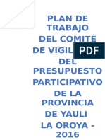 Plan de Trabajo Del Comité de Vigilancia Del Presupuesto Participativo 2016